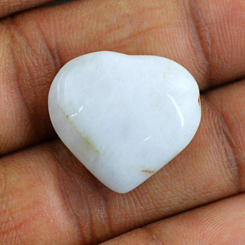 gemsmore:White Agate Carved Gemstone Natural Heart Shape