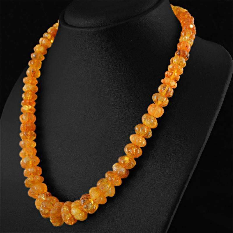 gemsmore:Yellow Citrine Necklace Natural Untreated Flower Carved Beads - Amazing