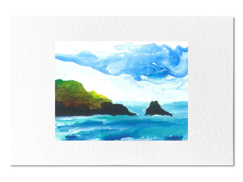 Black rock Pembrokeshire Mounted Greeting Card