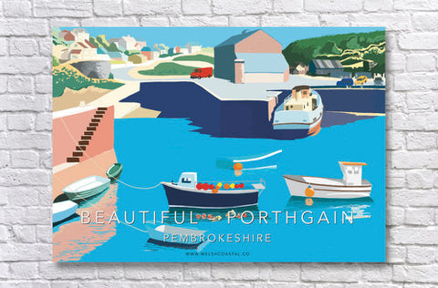 Beautiful Porthgain A3 Retro Style Poster