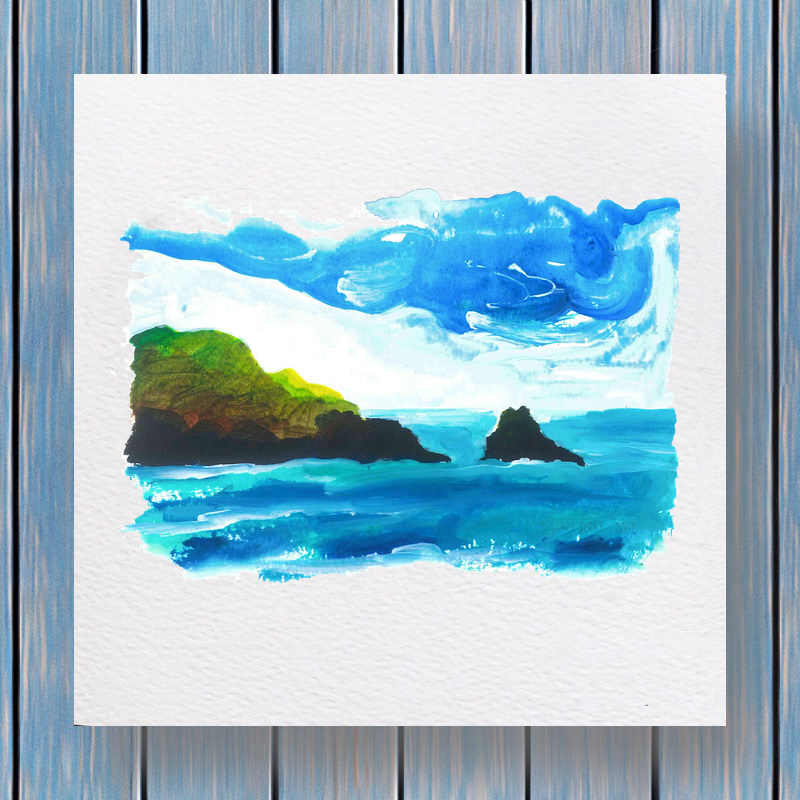 Black Rock Pembrokeshire - Fells Collection Greeting Card Template