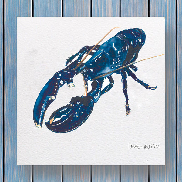 Blue Lobster - Fells Collection Greeting Card - Front
