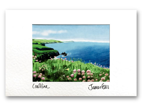 Coastline looking from Moylgrove mounted greeting card
