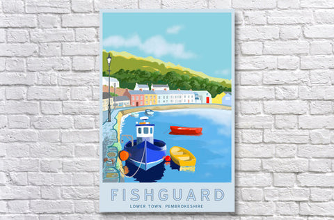 FishGuard Lower Town Retro Poster