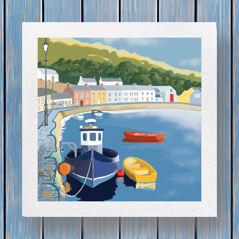 Fishguard Lower Town - Fells Collection Greeting Card