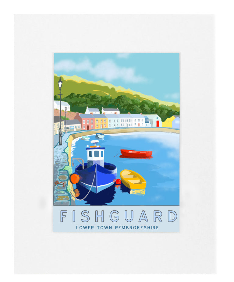 Fishguard Lower Town Mounted Print