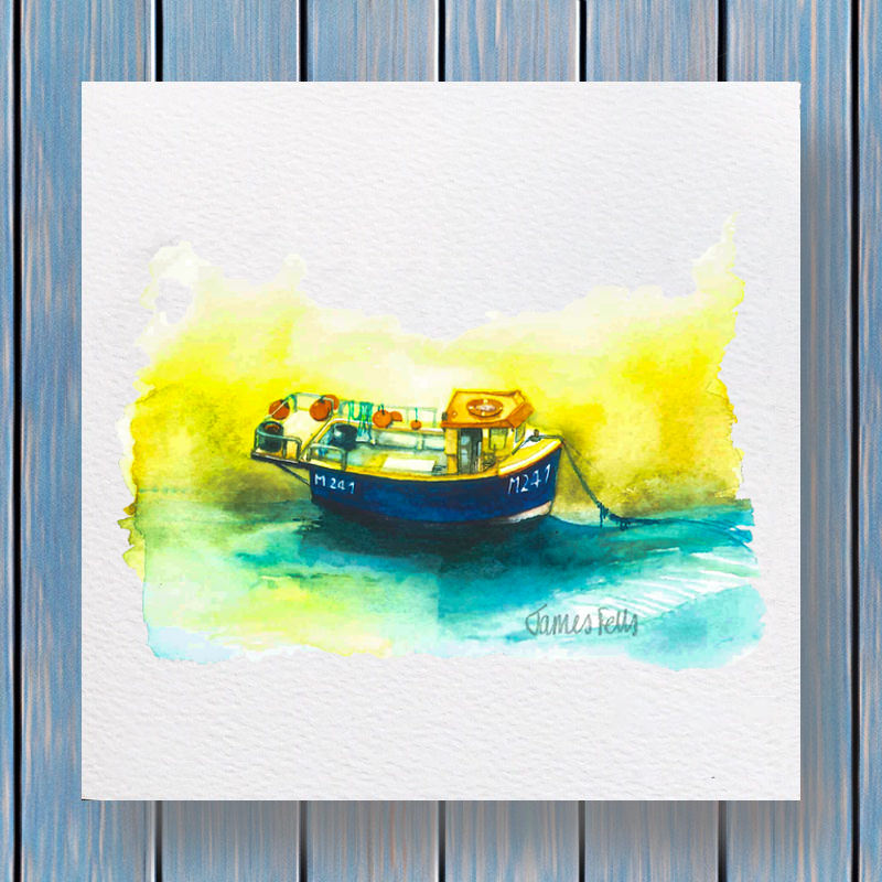 FishingBoat - Fells Collection Greeting Card Template