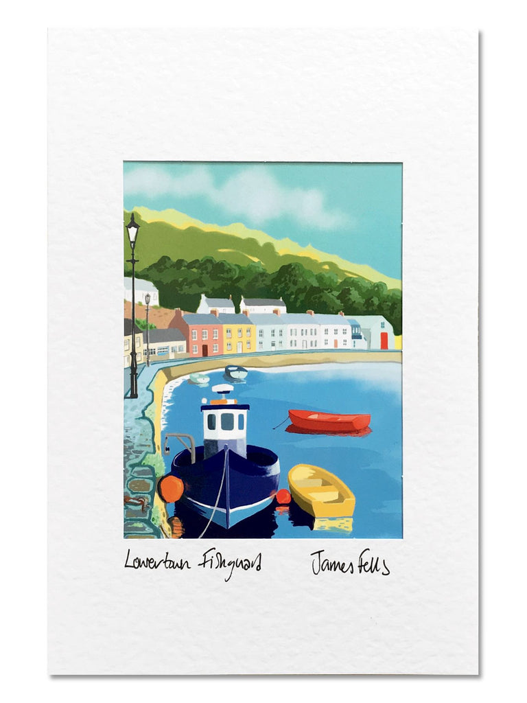 Lowertown Fishguard Pembrokeshire Mounted Greeting Card