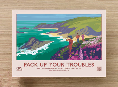 "Pembrokeshire Coast Vintage Style ""Pack Up Your Troubles"" Retro Postcard"