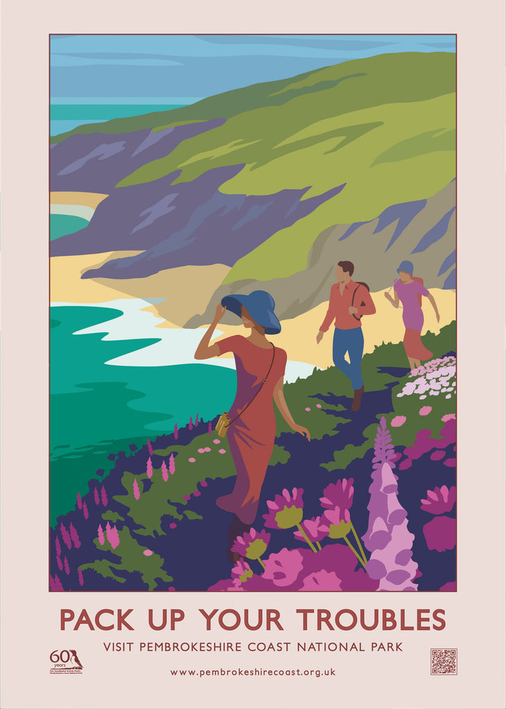 Pembrokeshire Coast National Pack Up Your Troubles Poster