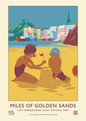 Pembrokeshire Coast National Park Poster - Miles Of Golden Sand - English