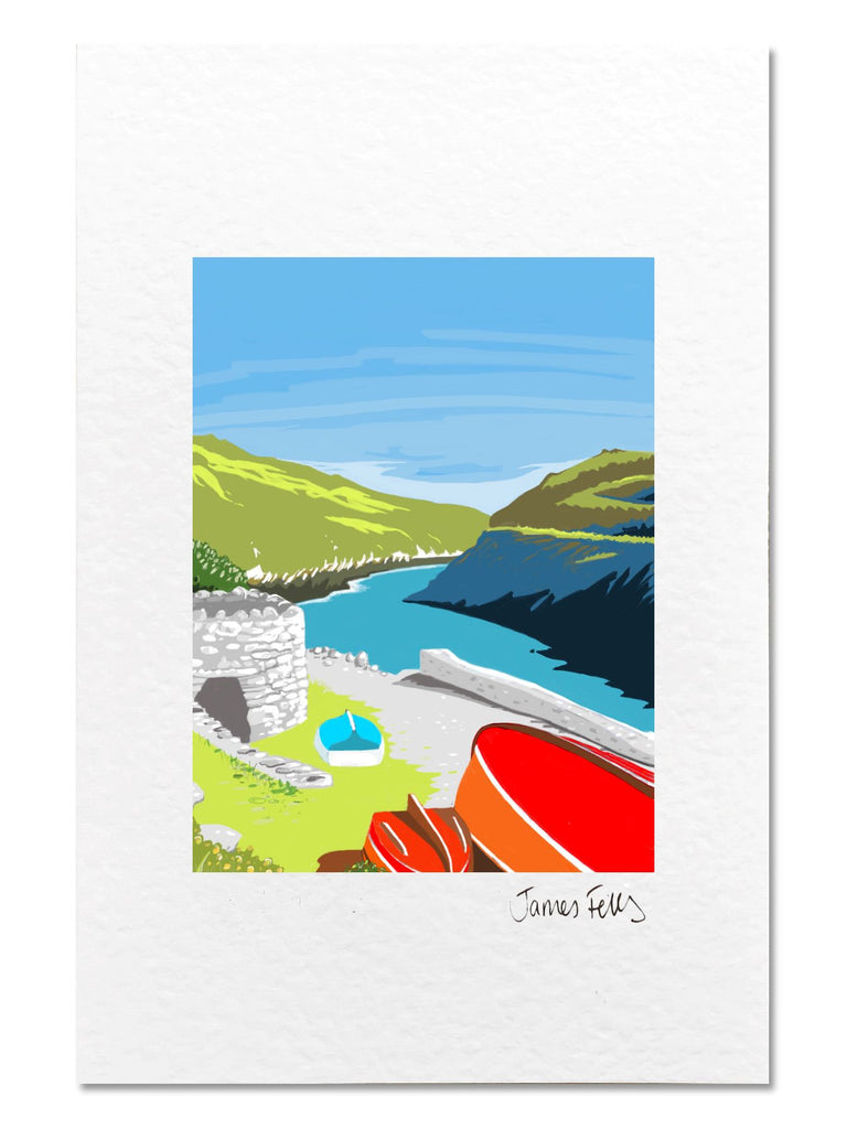 Porthclais Harbour Pembrokeshire Mounted Greeting Card