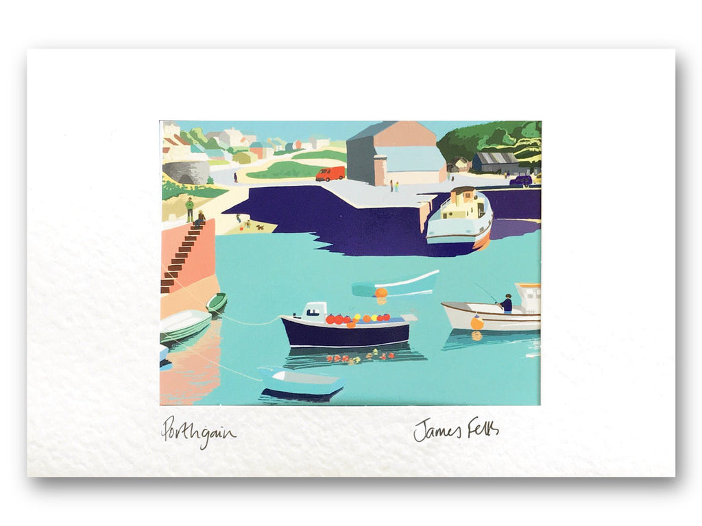 Porthgain Pembrokeshire Original Artwork Mounted Greeting Card