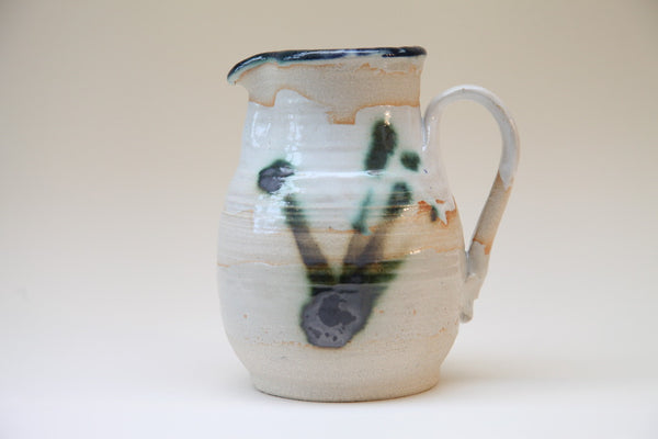 White Glaze, green glazed inside Stoneware Jug by Fishguard Pottery