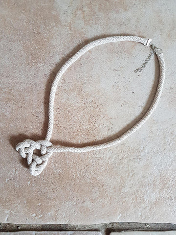 Soft macrame necklace, triangular knot, textile jewellery