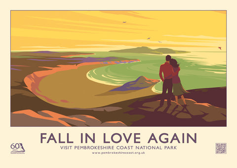 "Pembrokeshire Coast ""Fall In Love Again"" 60th Anniversary Retro Poster."