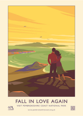 Pembrokeshire Coast National Park Poster - Fall In Love Again - English