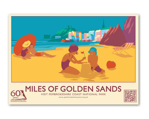 Miles Of Golden Sands - Tenby Postcard