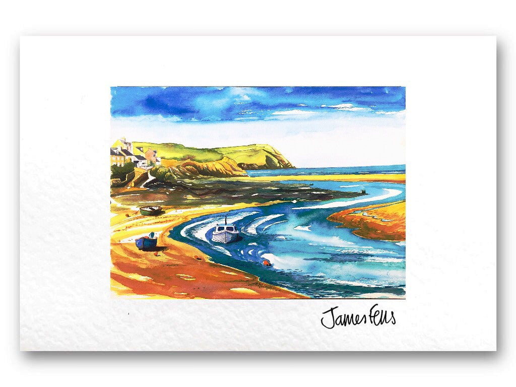 Low Tide Newport Pembrokeshire, Mounted Greeting Card