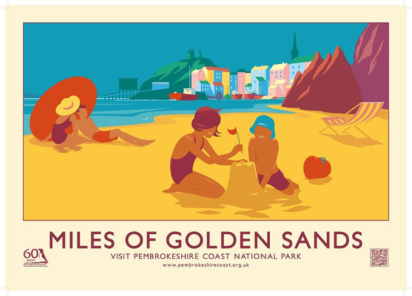 Tenby - Miles Of Golden Sandy Retro Poster