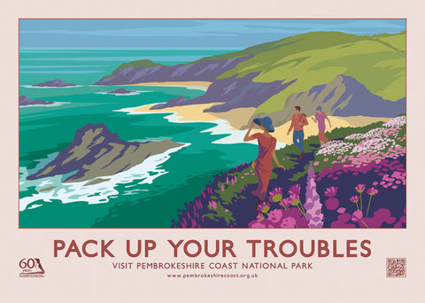 Pembrokeshire Coast Vintage Style Pack Up Your Troubles Retro Poster