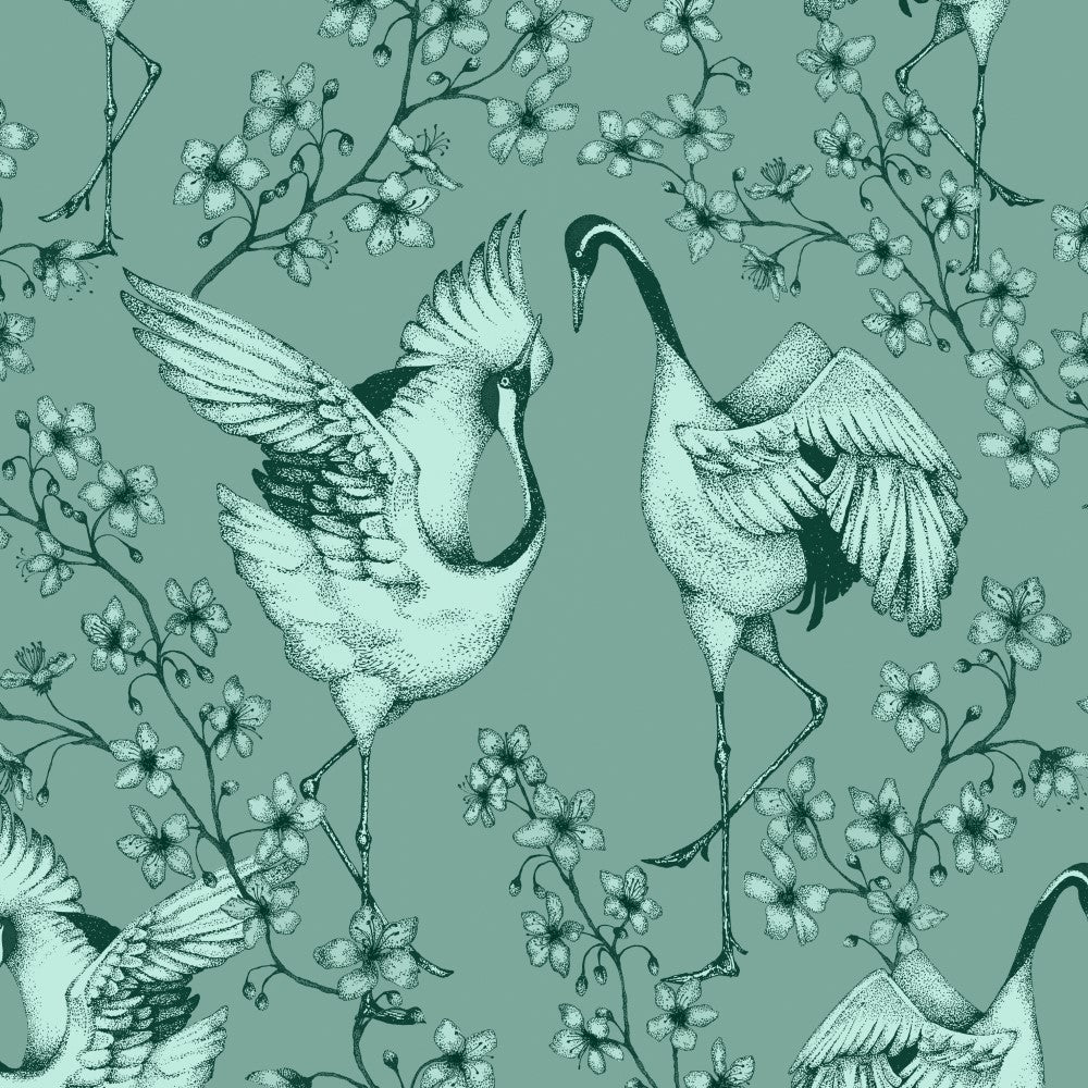 Courting Cranes: Wallpaper - Duck Egg Blue