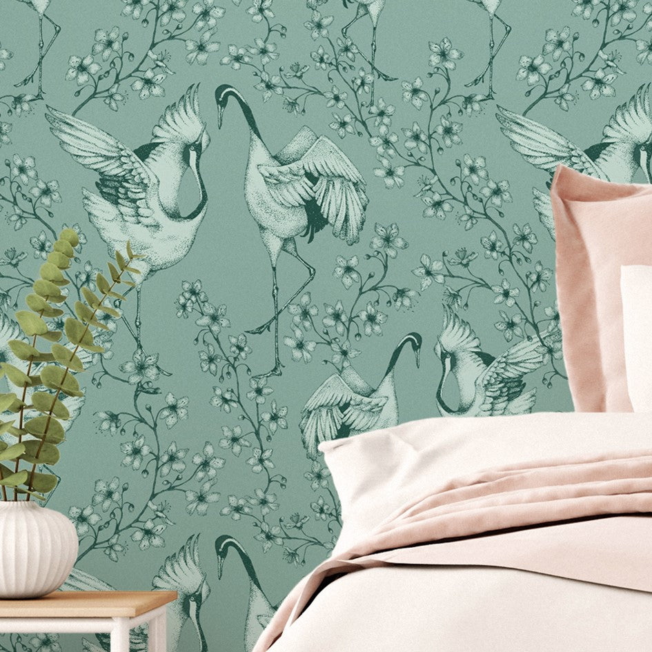 Duck Egg Blue Wallpaper | Courting Cranes by Modlo