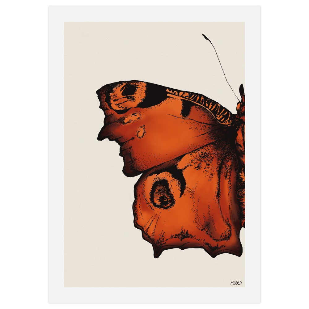 Butterfly in Red Ochre: Art Print
