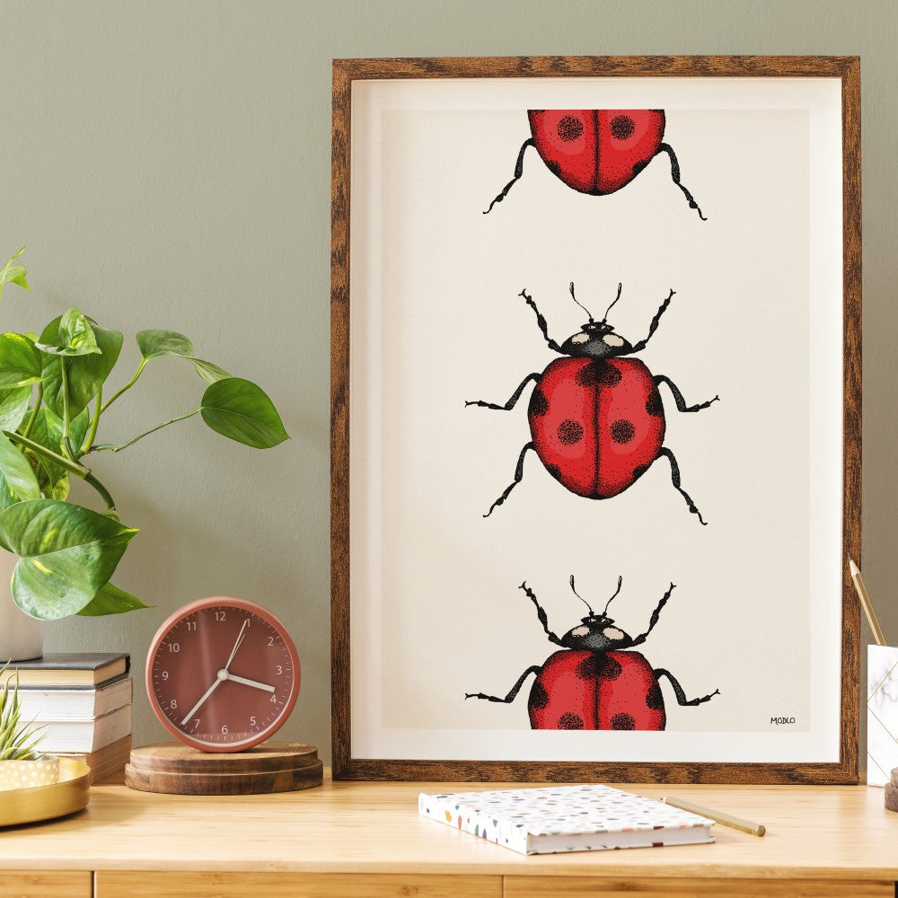 Marching Ladybirds: Art Print