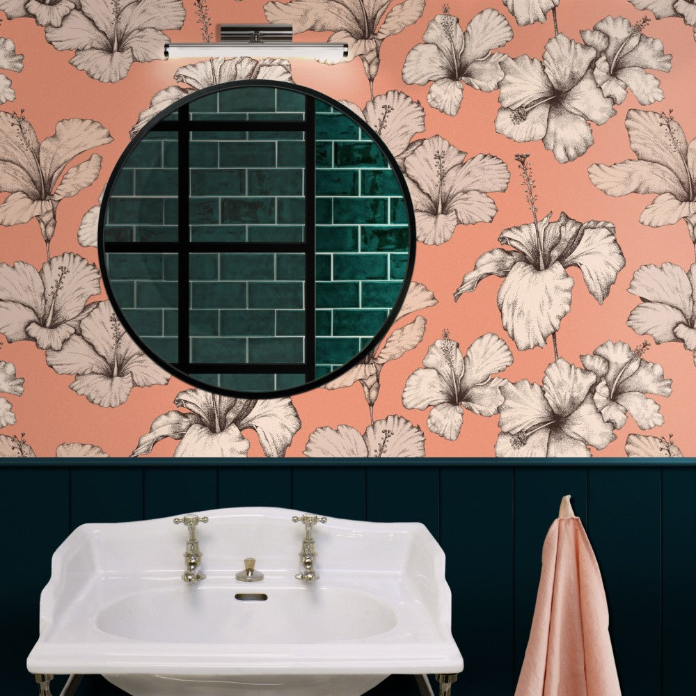 Botanical Peach Wallpaper | Hibiscus by Modlo