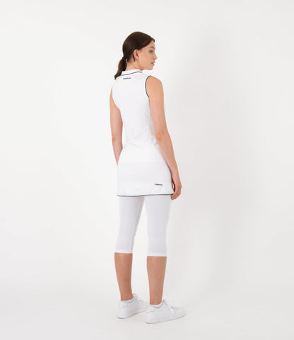 Camilla Sleeveless Polo - White/Navy