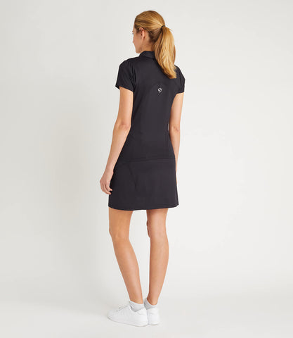 Gabriella Technical Zip Neck Polo Black