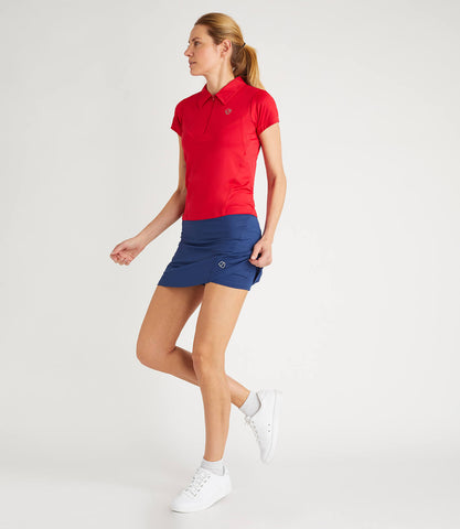 Gabriella Technical Zip Neck Polo Red