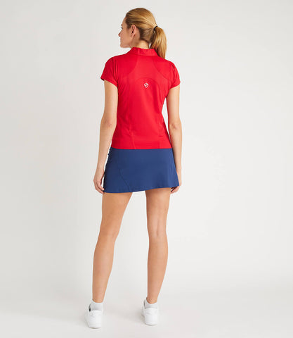 Gabriella Technical Zip Neck Polo - Red
