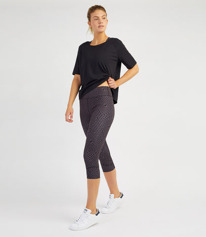 Georgia Capri Leggings - Black/Anthracite Print