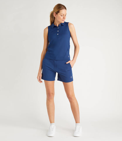 Mia Technical Sleeveless Button Neck Polo Blue