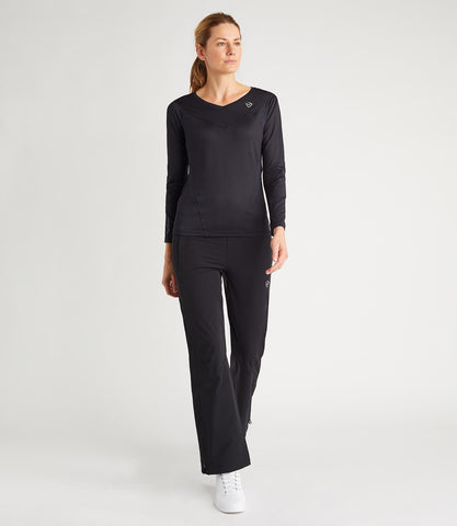 Naomi Technical Long Sleeve V Neck Tee - Black