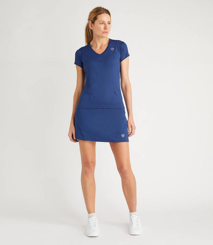 Nicole Technical V Neck Tee - Blue