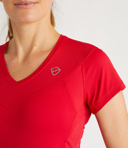 Nicole Technical V Neck Tee Red
