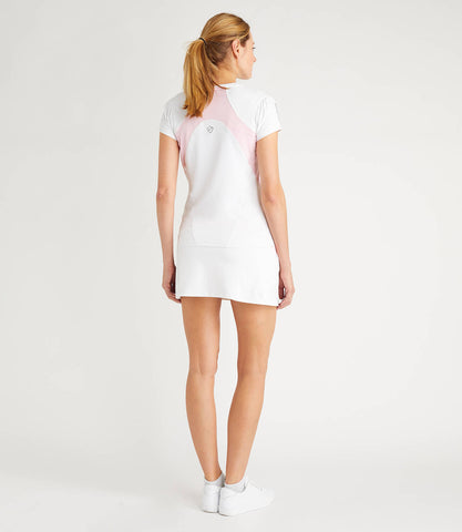 Nicole Technical V Neck Tee - White/Pink