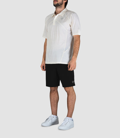 Blake Merino Button Neck Polo - White