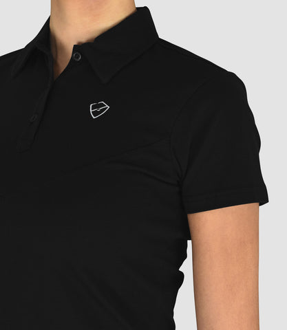 Penelope Cotton Button Neck Polo Black