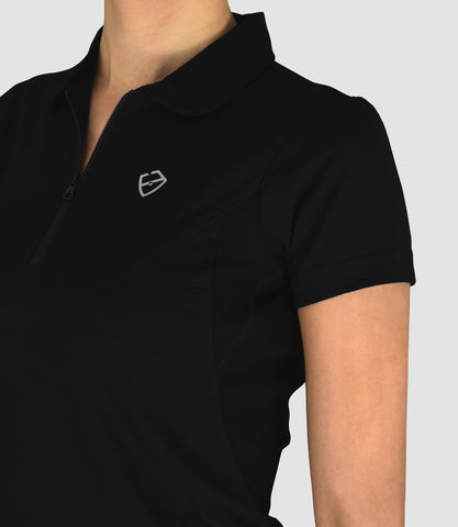 Isabella Merino Zip Neck Polo - Black