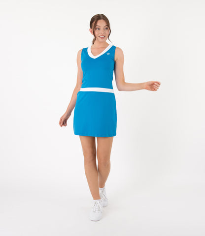 Victoria Dress - Brilliant Blue/White