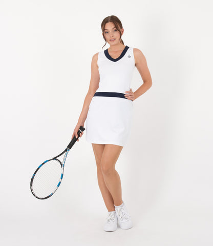 Victoria Dress - White/Navy