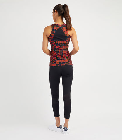 Veronica Performance Vest - Black Flame Print