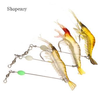 Silicone Fishing Simulation Noctilucent Soft Shrimp Lure Hook Bait (7cm)