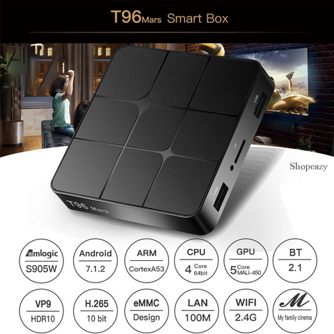 T96 mars S905w 2GB 16GB Android 7.1 TV Box -2.4GHz