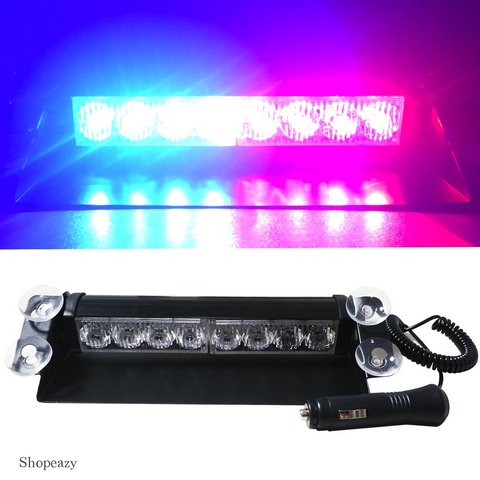 Strobelight Bar High Intensity 8 LED Windshield Emergency Warning Strobe Lights with Retractable Cable & 4 solid Sucker-White Light