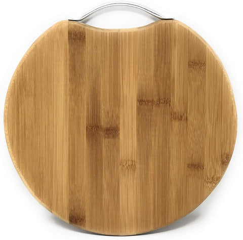 Round Natural Bamboo Cutting &Chopping Serving Board with Handle